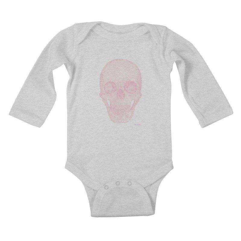 Skull PINK - One Continuous Line Kids Baby Longsleeve Bodysuit by Daniel Dugan's Artist Shop