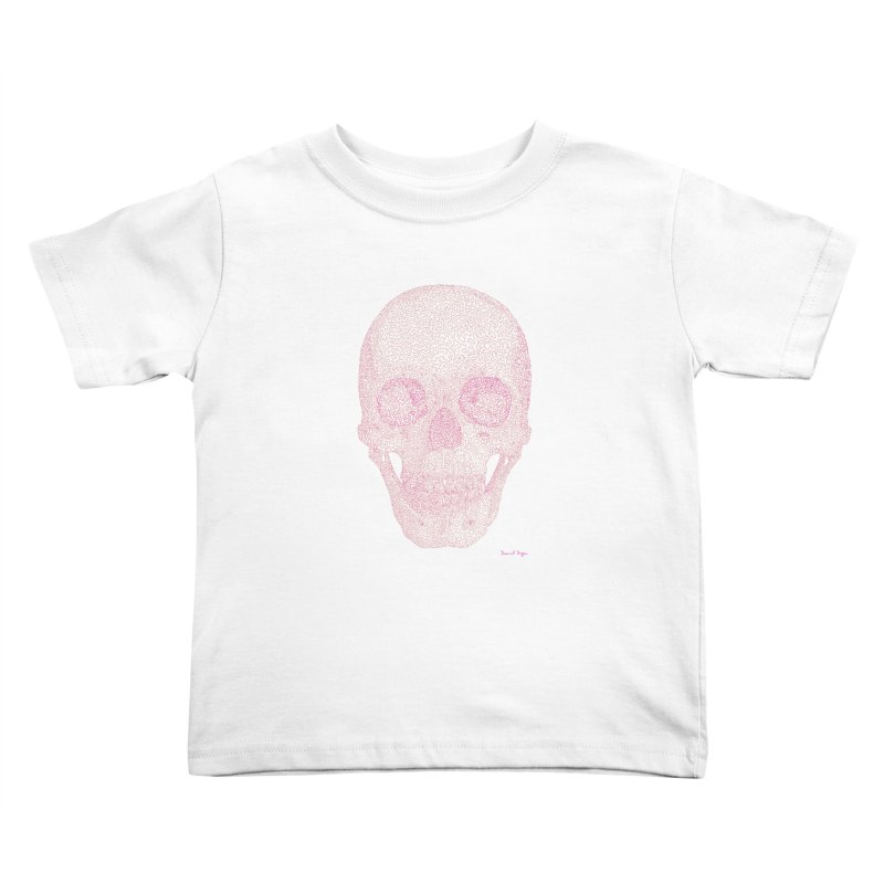 Skull PINK - One Continuous Line Kids Toddler T-Shirt by Daniel Dugan's Artist Shop