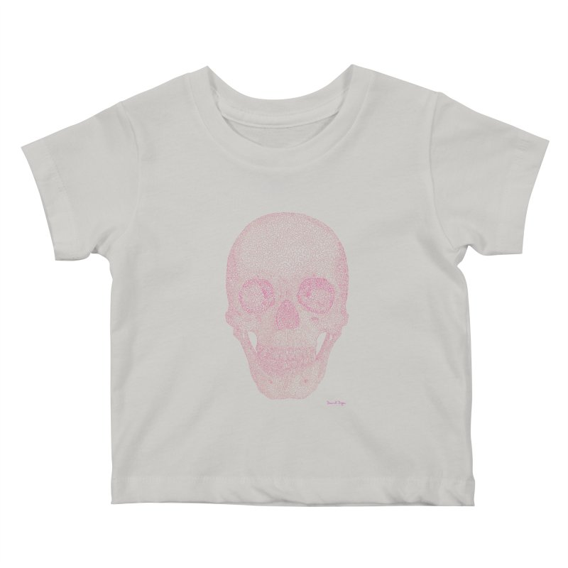 Skull PINK - One Continuous Line Kids Baby T-Shirt by Daniel Dugan's Artist Shop
