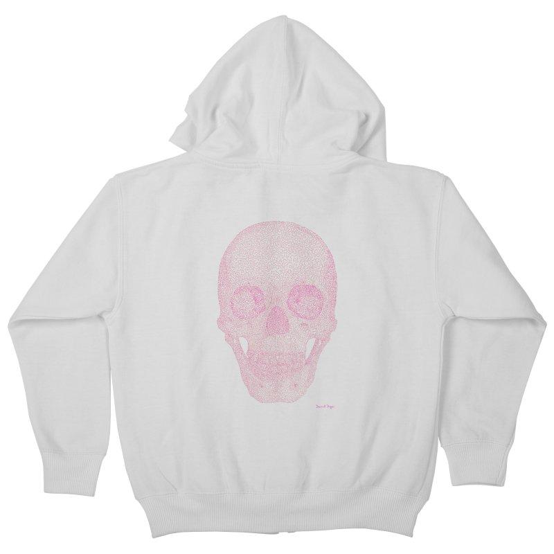Skull PINK - One Continuous Line Kids Zip-Up Hoody by Daniel Dugan's Artist Shop