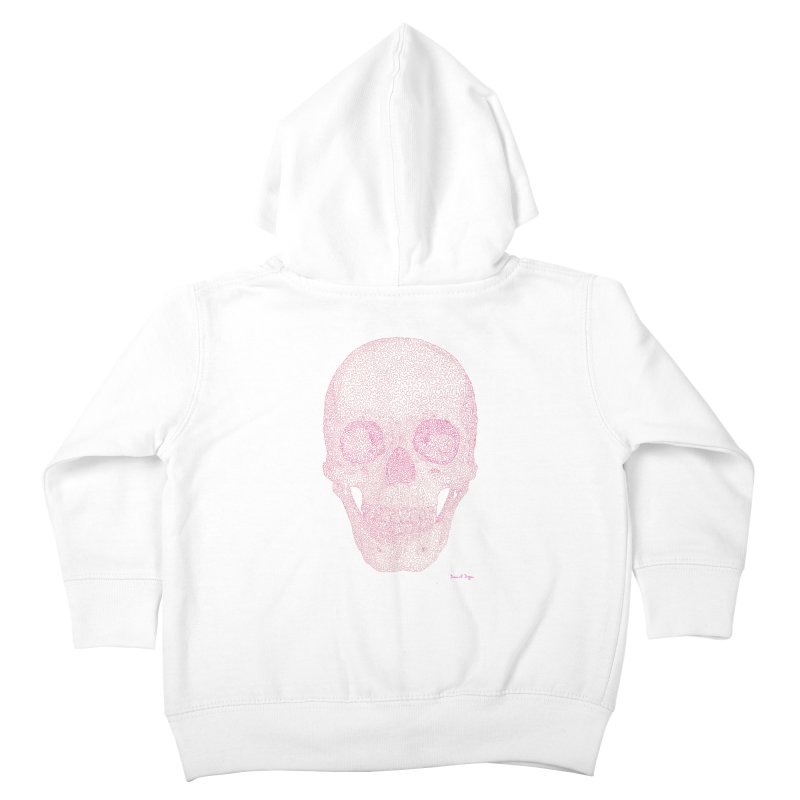 Skull PINK - One Continuous Line Kids Toddler Zip-Up Hoody by Daniel Dugan's Artist Shop