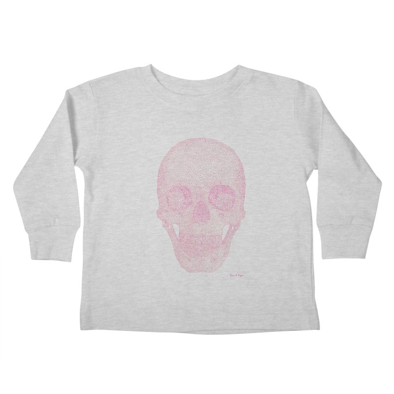 Skull PINK - One Continuous Line Kids Toddler Longsleeve T-Shirt by Daniel Dugan's Artist Shop