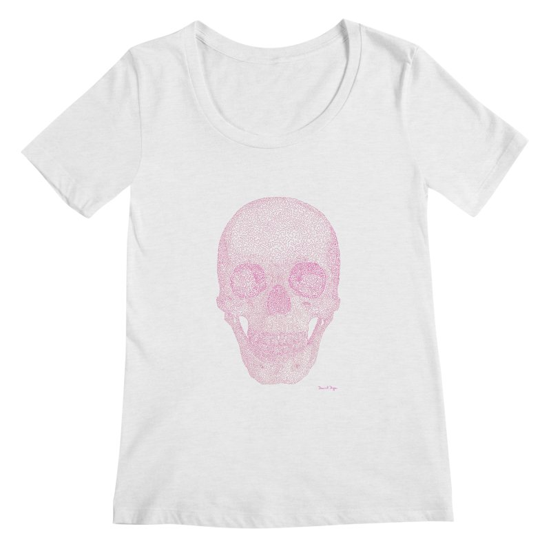 Skull PINK - One Continuous Line Women's Scoopneck by Daniel Dugan's Artist Shop