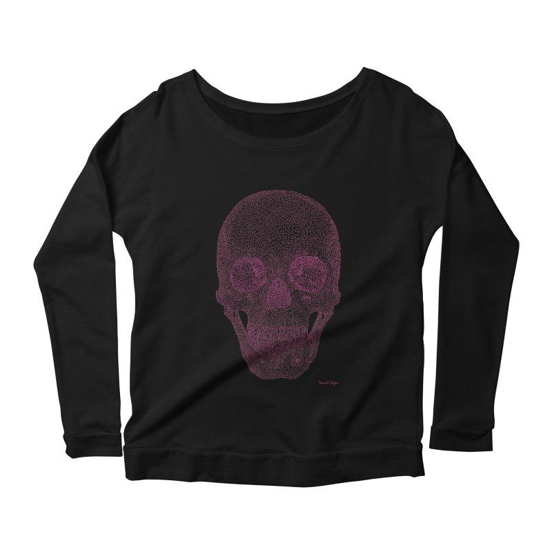 Skull PINK - One Continuous Line Women's Longsleeve Scoopneck  by Daniel Dugan's Artist Shop