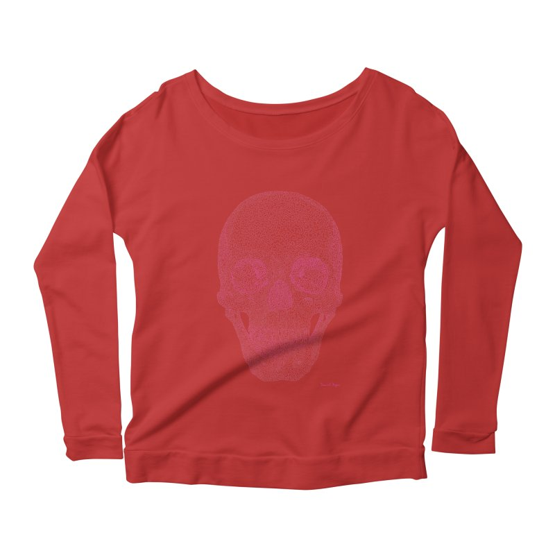Skull PINK - One Continuous Line Women's Longsleeve Scoopneck  by Daniel Dugan's Artist Shop