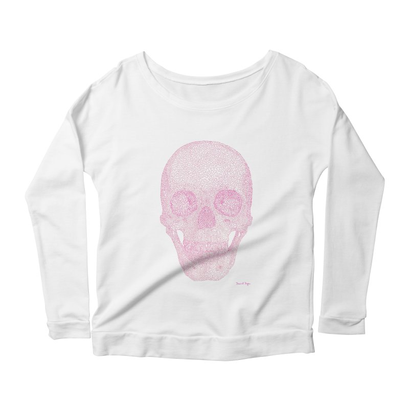 Skull PINK - One Continuous Line Women's Scoop Neck Longsleeve T-Shirt by Daniel Dugan's Artist Shop