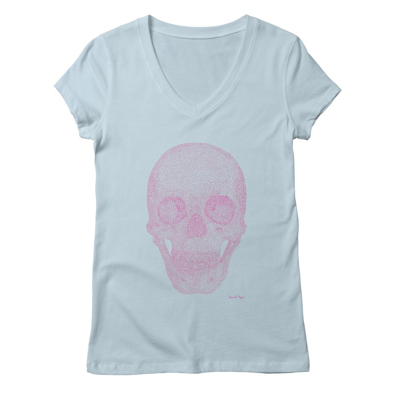 Skull PINK - One Continuous Line Women's V-Neck by Daniel Dugan's Artist Shop