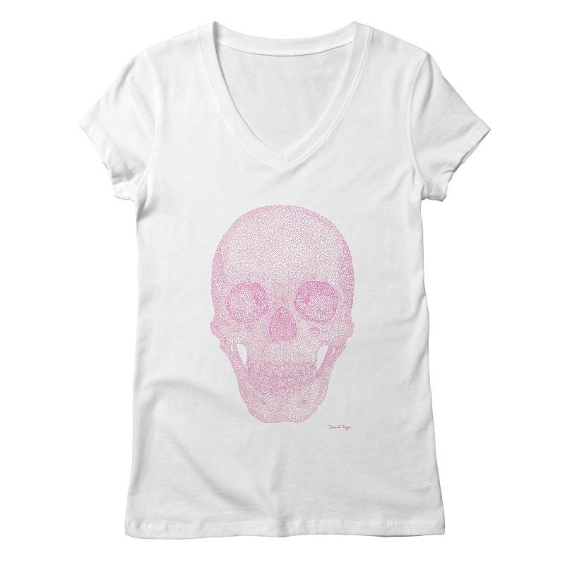 Skull PINK - One Continuous Line Women's Regular V-Neck by Daniel Dugan's Artist Shop