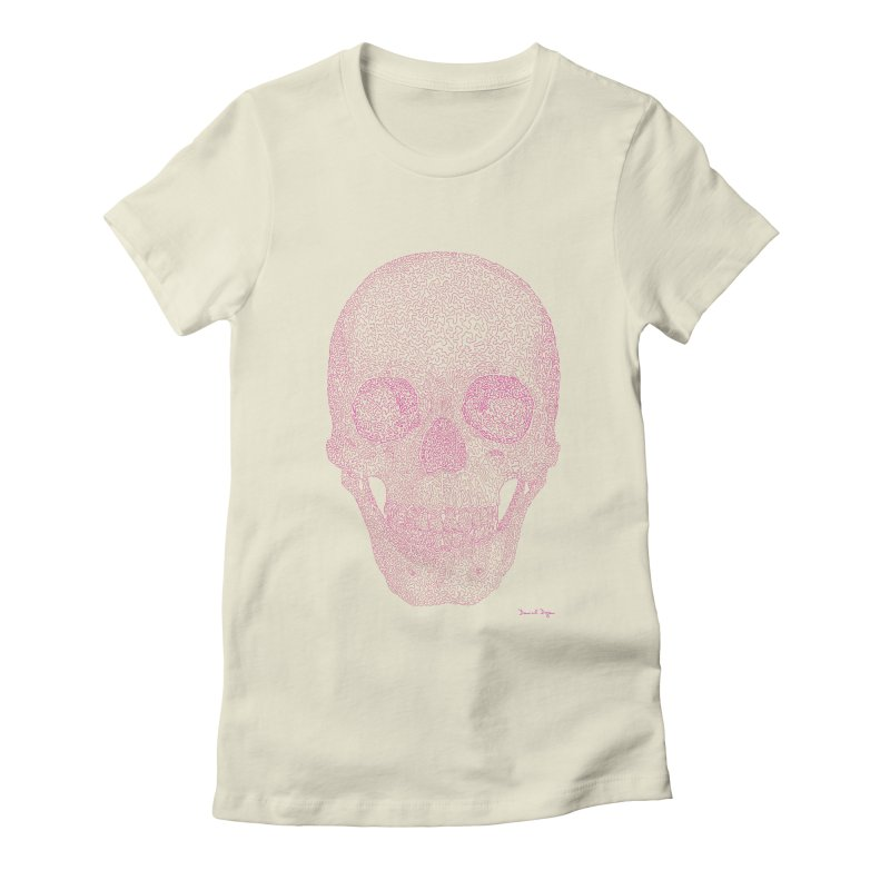 Skull PINK - One Continuous Line Women's Fitted T-Shirt by Daniel Dugan's Artist Shop