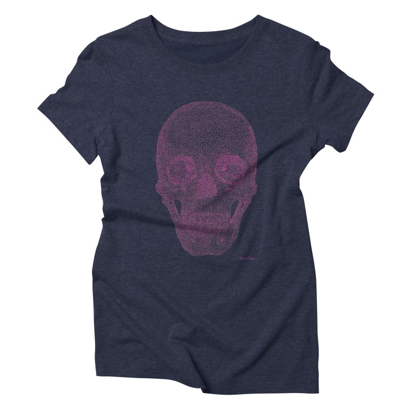 Skull PINK - One Continuous Line Women's Triblend T-Shirt by Daniel Dugan's Artist Shop