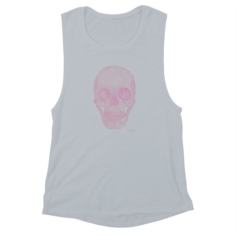 Skull PINK - One Continuous Line Women's Muscle Tank by Daniel Dugan's Artist Shop