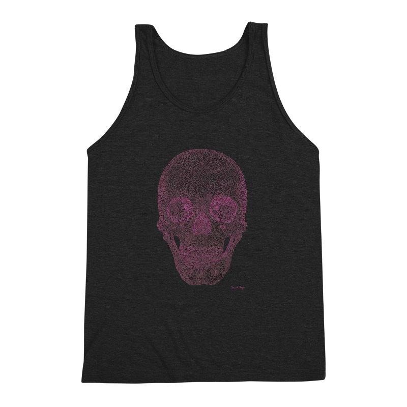 Skull PINK - One Continuous Line Men's Triblend Tank by Daniel Dugan's Artist Shop