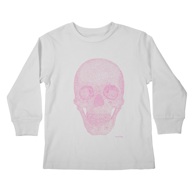 Skull PINK - One Continuous Line Kids Longsleeve T-Shirt by Daniel Dugan's Artist Shop