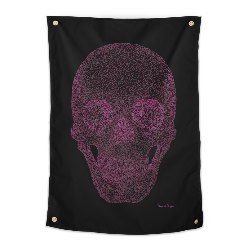 Skull PINK - One Continuous Line Home Tapestry by Daniel Dugan's Artist Shop