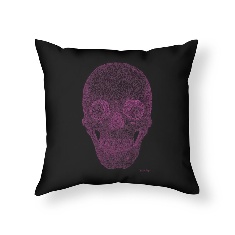 Skull PINK - One Continuous Line Home Throw Pillow by Daniel Dugan's Artist Shop