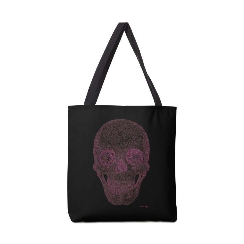 Skull PINK - One Continuous Line Accessories Tote Bag Bag by Daniel Dugan's Artist Shop