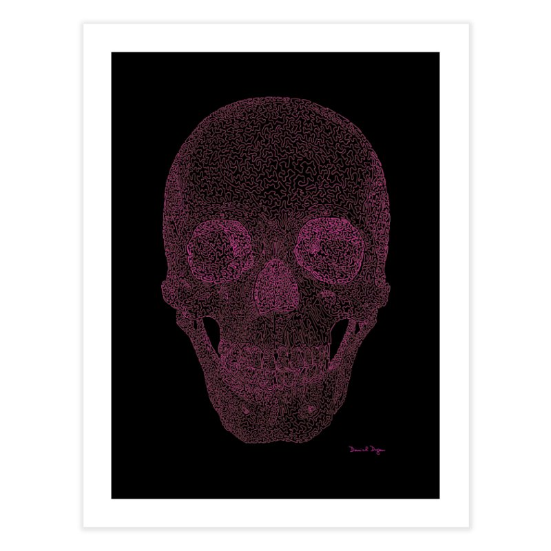 Skull PINK - One Continuous Line Home Fine Art Print by Daniel Dugan's Artist Shop