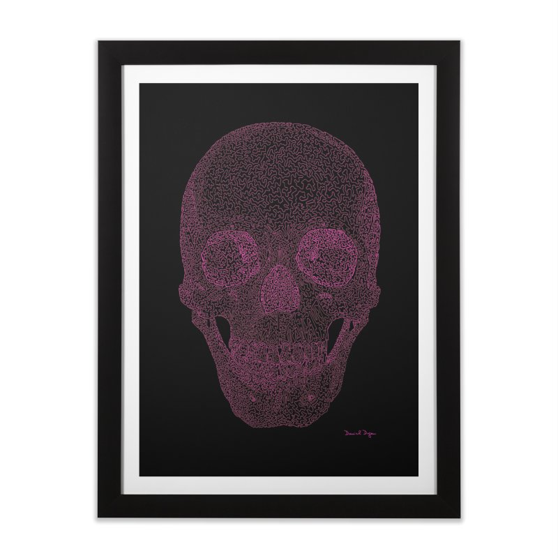 Skull PINK - One Continuous Line Home Framed Fine Art Print by Daniel Dugan's Artist Shop
