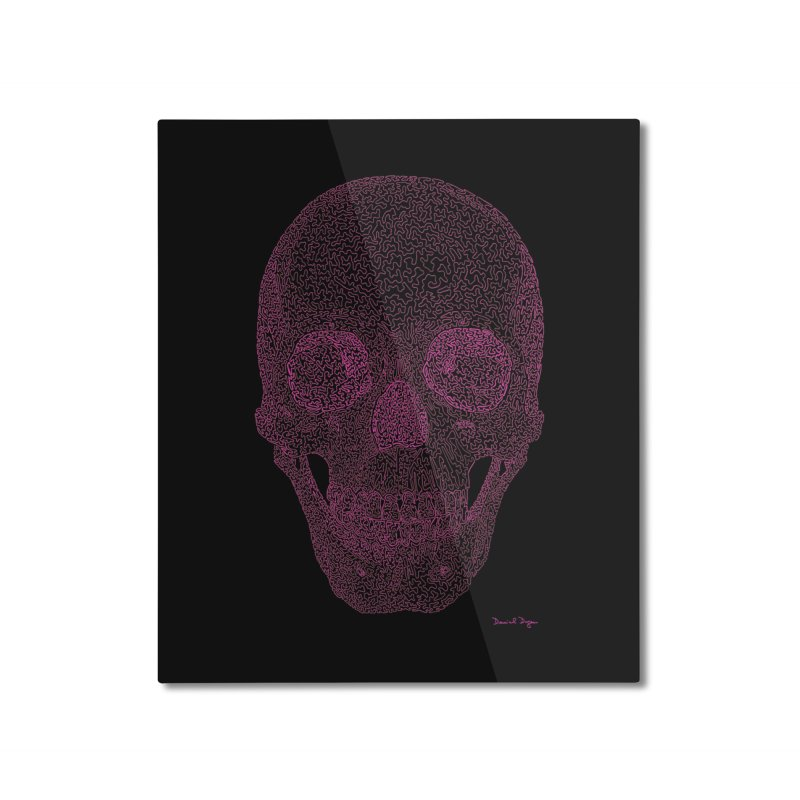 Skull PINK - One Continuous Line Home Mounted Aluminum Print by Daniel Dugan's Artist Shop