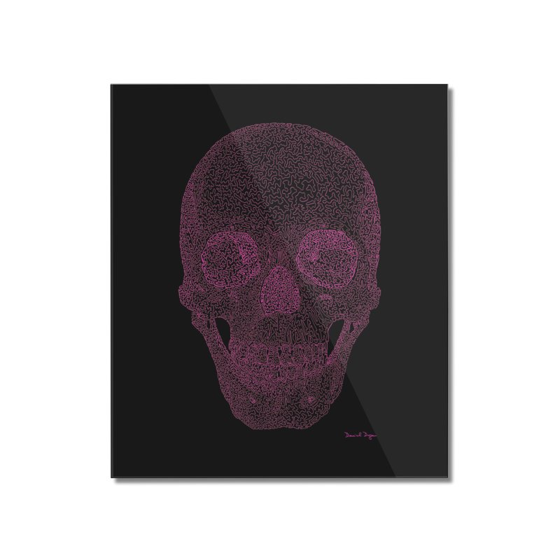 Skull PINK - One Continuous Line Home Mounted Acrylic Print by Daniel Dugan's Artist Shop