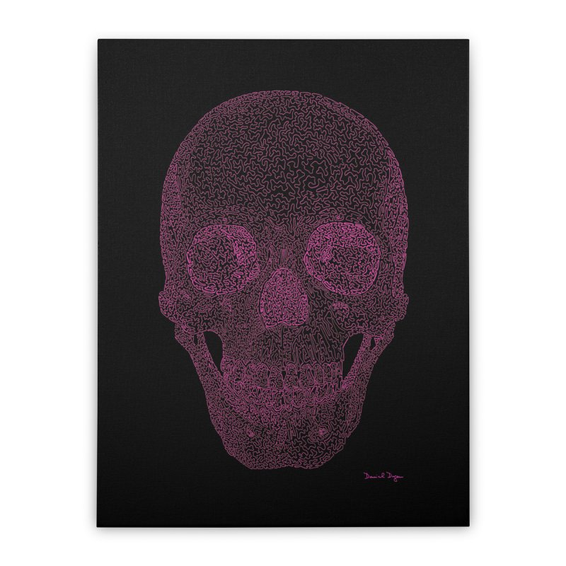 Skull PINK - One Continuous Line Home Stretched Canvas by Daniel Dugan's Artist Shop