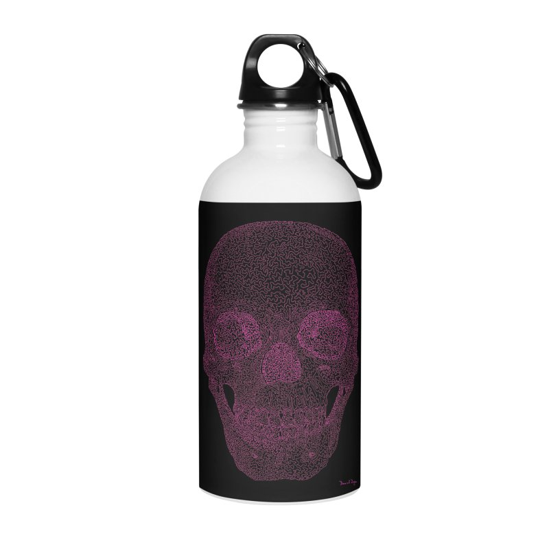 Skull PINK - One Continuous Line Accessories Water Bottle by Daniel Dugan's Artist Shop
