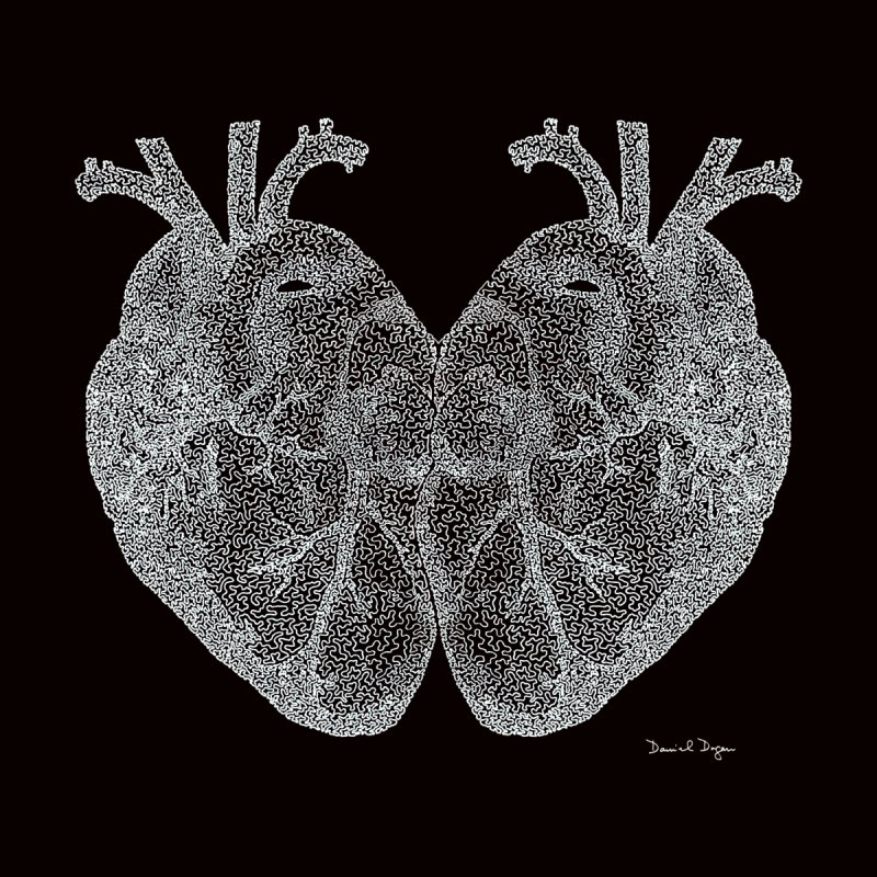 Heart to Heart WHITE - One Continuous Line by Daniel Dugan's Artist Shop