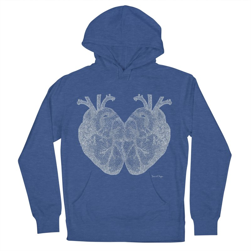 Heart to Heart WHITE - One Continuous Line Women's Pullover Hoody by Daniel Dugan's Artist Shop