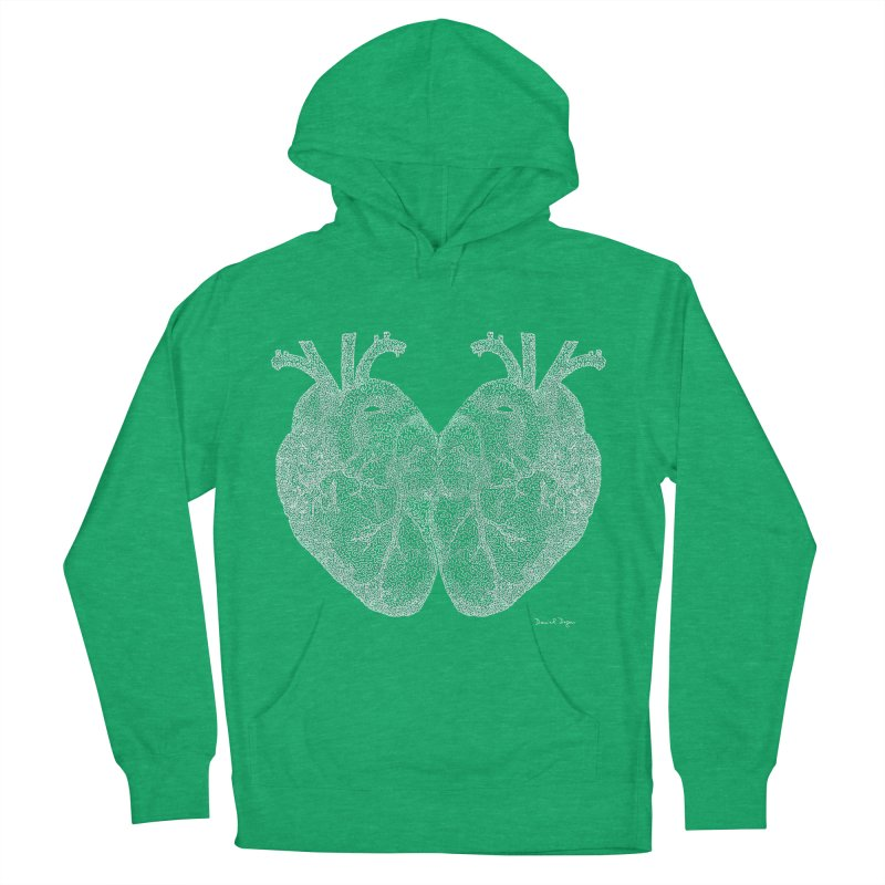 Heart to Heart WHITE - One Continuous Line Men's Pullover Hoody by Daniel Dugan's Artist Shop