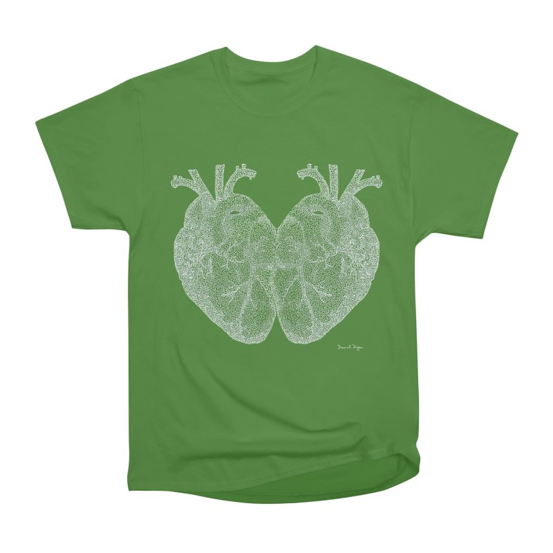 Heart to Heart WHITE - One Continuous Line Women's Classic Unisex T-Shirt by Daniel Dugan's Artist Shop