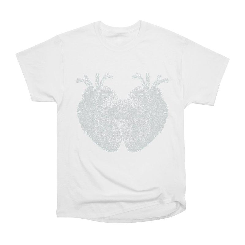 Heart to Heart WHITE - One Continuous Line Women's Heavyweight Unisex T-Shirt by Daniel Dugan's Artist Shop