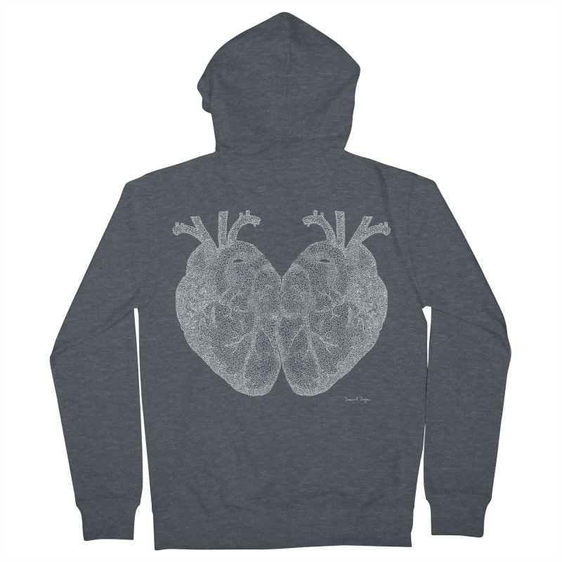 Heart to Heart WHITE - One Continuous Line Women's Zip-Up Hoody by Daniel Dugan's Artist Shop