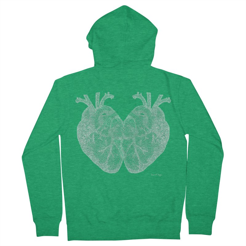 Heart to Heart WHITE - One Continuous Line Men's Zip-Up Hoody by Daniel Dugan's Artist Shop