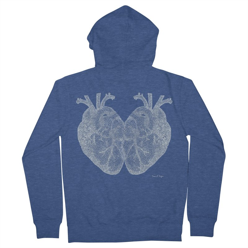 Heart to Heart WHITE - One Continuous Line Men's French Terry Zip-Up Hoody by Daniel Dugan's Artist Shop