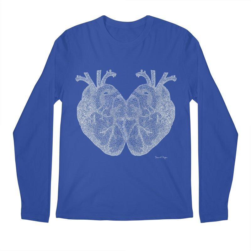 Heart to Heart WHITE - One Continuous Line Men's Longsleeve T-Shirt by Daniel Dugan's Artist Shop