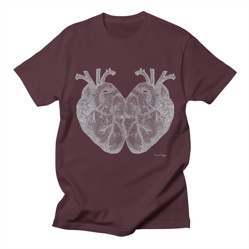 Heart to Heart WHITE - One Continuous Line Women's Unisex T-Shirt by Daniel Dugan's Artist Shop