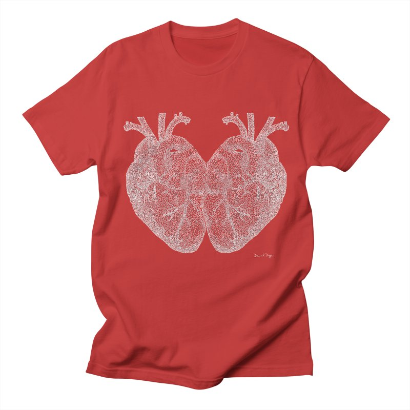 Heart to Heart WHITE - One Continuous Line Men's T-Shirt by Daniel Dugan's Artist Shop