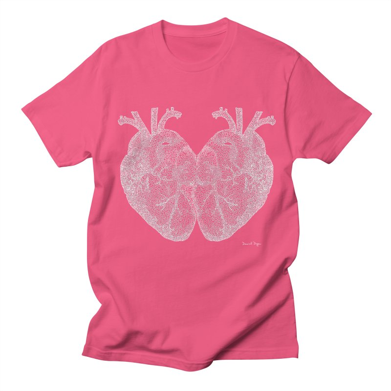 Heart to Heart WHITE - One Continuous Line Men's Regular T-Shirt by Daniel Dugan's Artist Shop