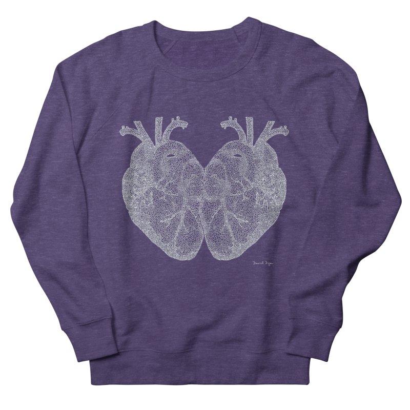 Heart to Heart WHITE - One Continuous Line Women's Sweatshirt by Daniel Dugan's Artist Shop