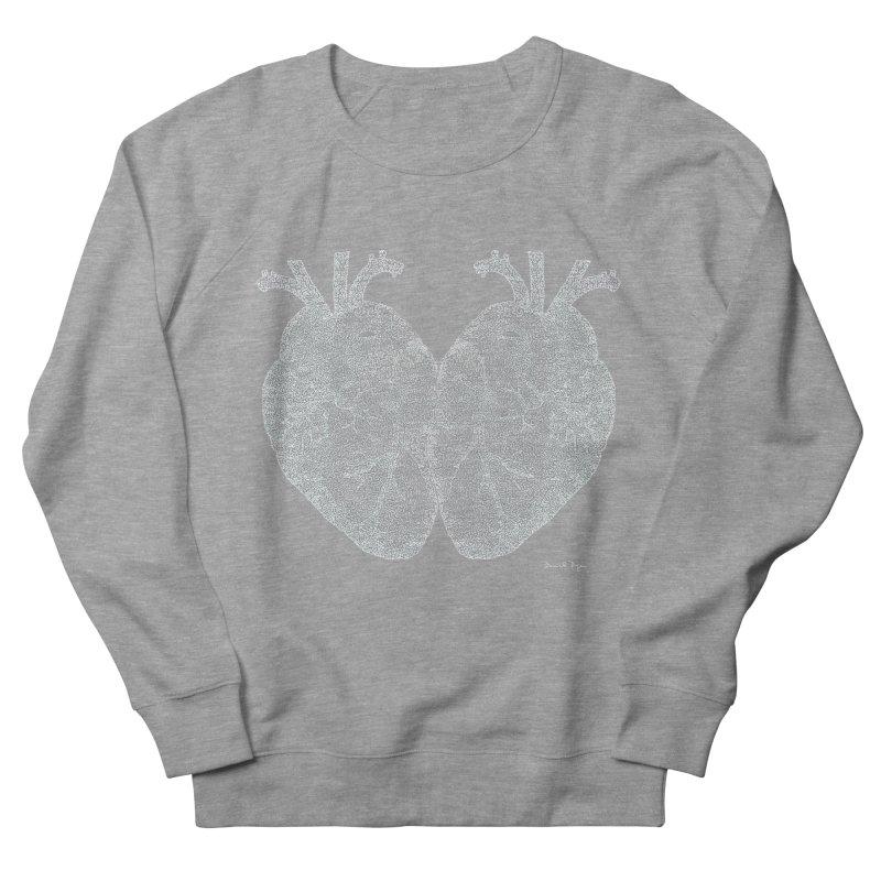 Heart to Heart WHITE - One Continuous Line Men's Sweatshirt by Daniel Dugan's Artist Shop