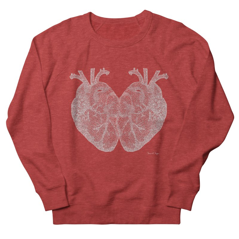 Heart to Heart WHITE - One Continuous Line Men's French Terry Sweatshirt by Daniel Dugan's Artist Shop