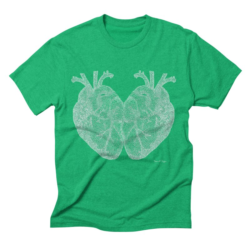 Heart to Heart WHITE - One Continuous Line Men's Triblend T-Shirt by Daniel Dugan's Artist Shop