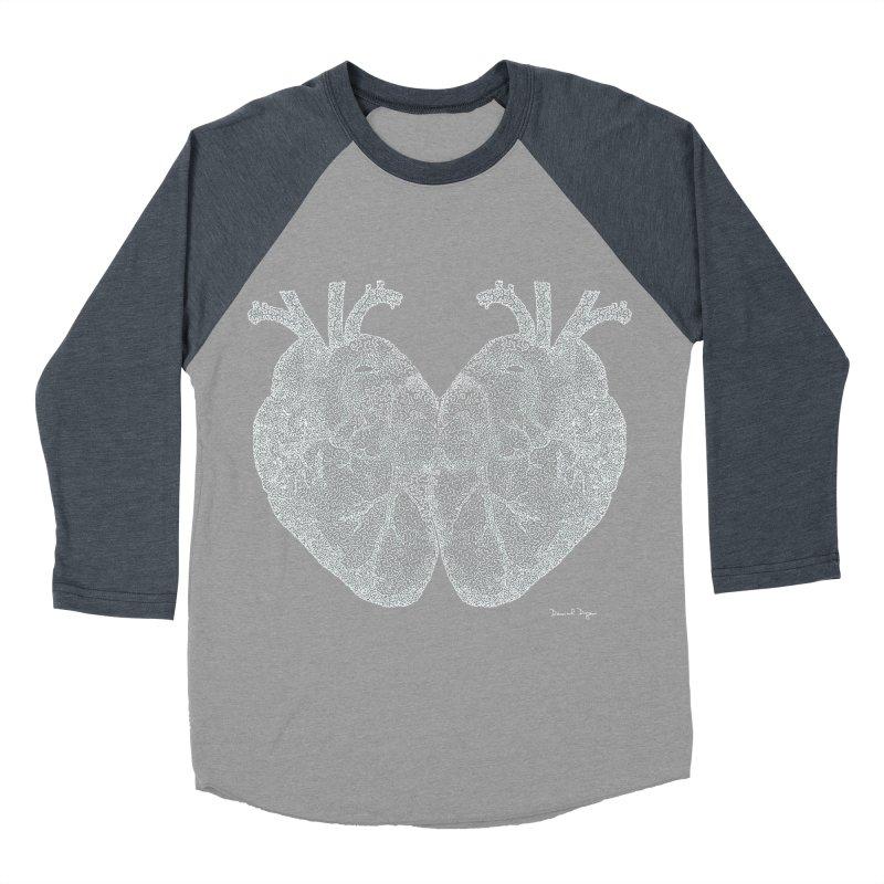 Heart to Heart WHITE - One Continuous Line Women's Baseball Triblend T-Shirt by Daniel Dugan's Artist Shop