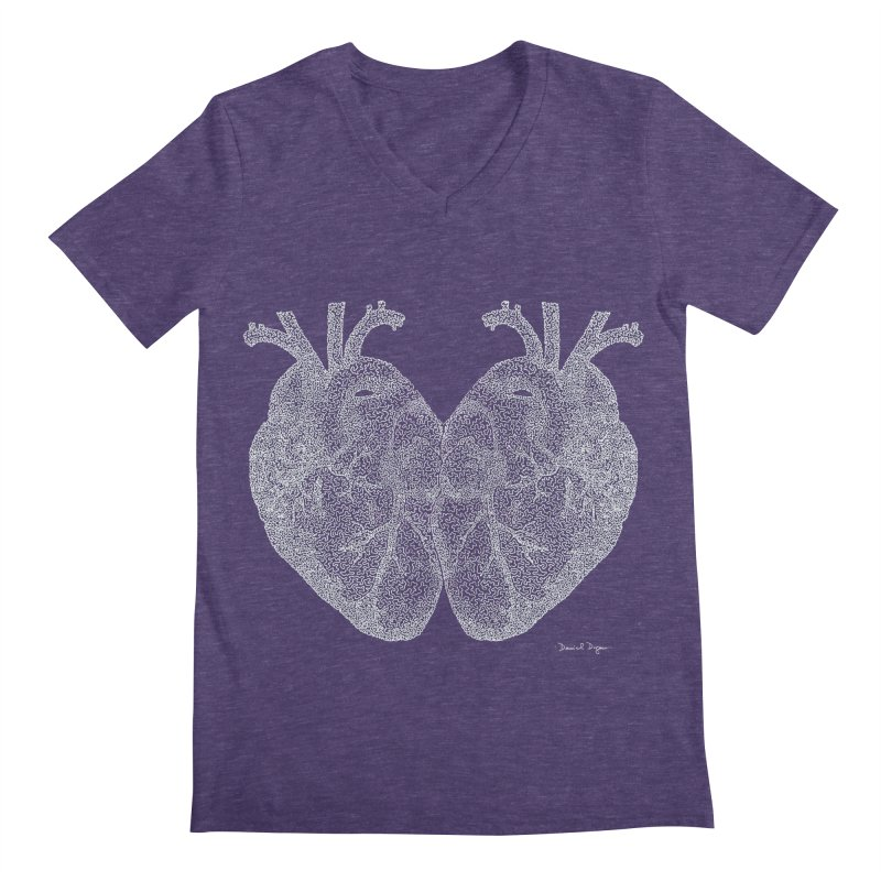 Heart to Heart WHITE - One Continuous Line Men's V-Neck by Daniel Dugan's Artist Shop