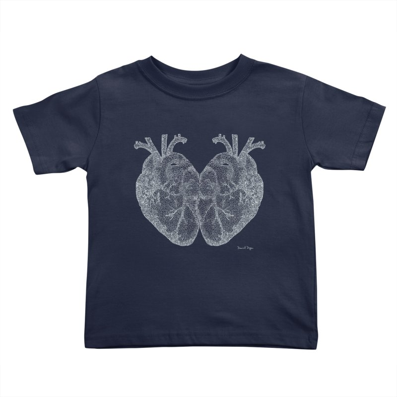 Heart to Heart WHITE - One Continuous Line Kids Toddler T-Shirt by Daniel Dugan's Artist Shop