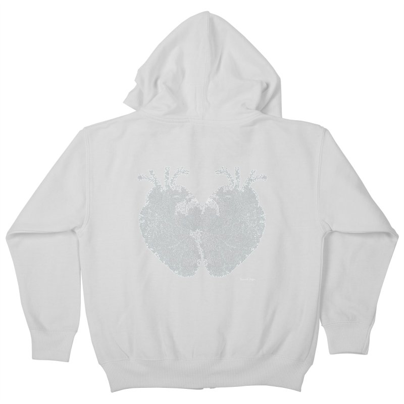 Heart to Heart WHITE - One Continuous Line Kids Zip-Up Hoody by Daniel Dugan's Artist Shop