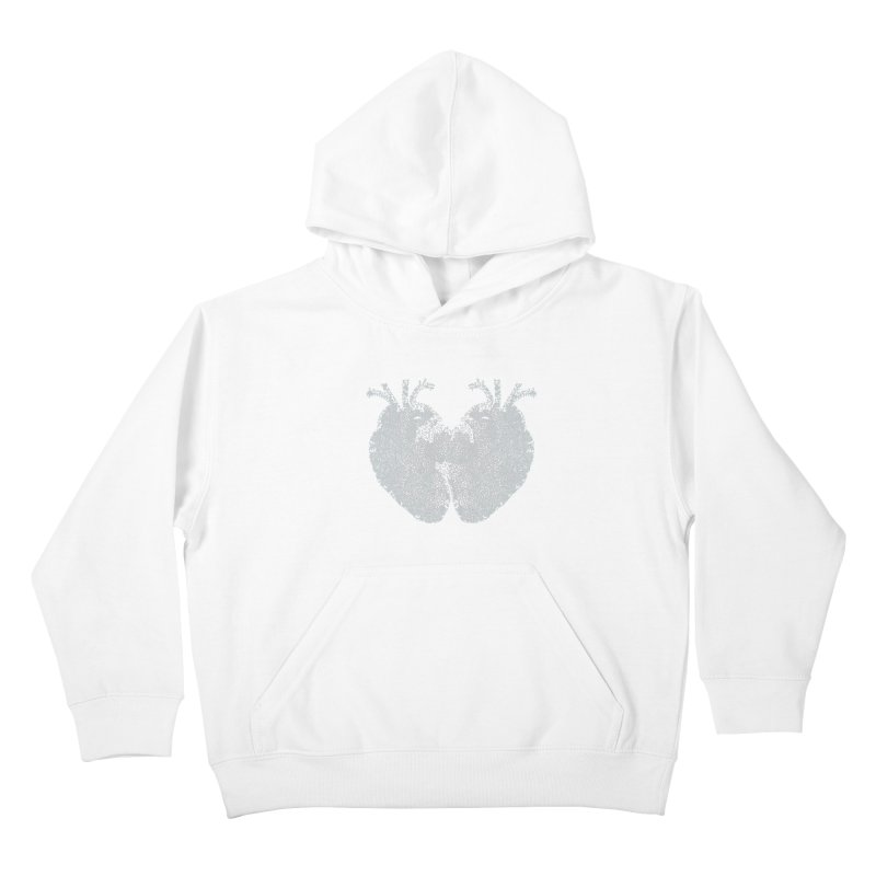 Heart to Heart WHITE - One Continuous Line Kids Pullover Hoody by Daniel Dugan's Artist Shop