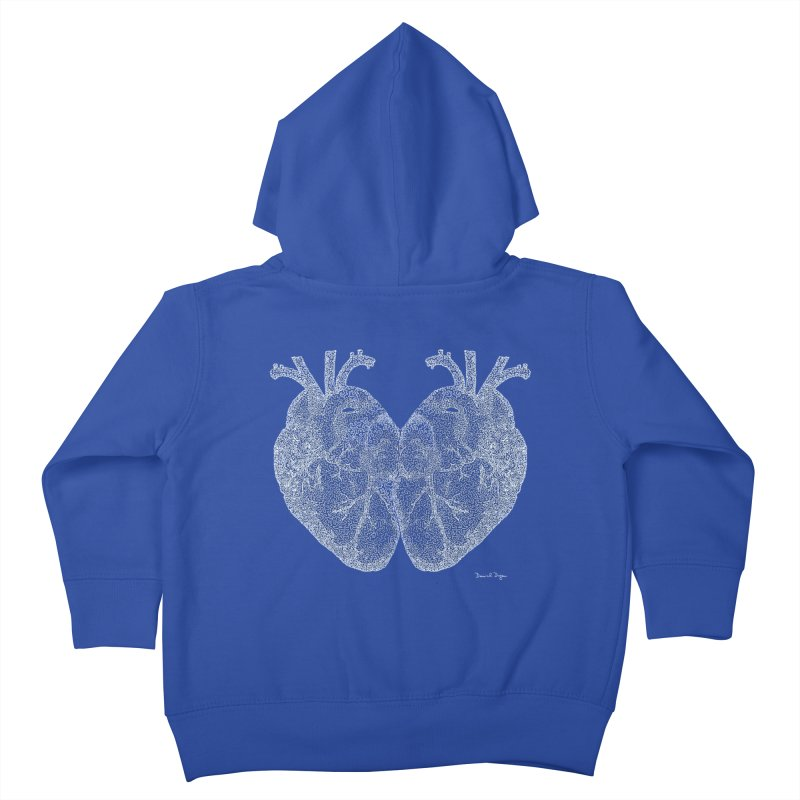 Heart to Heart WHITE - One Continuous Line Kids Toddler Zip-Up Hoody by Daniel Dugan's Artist Shop