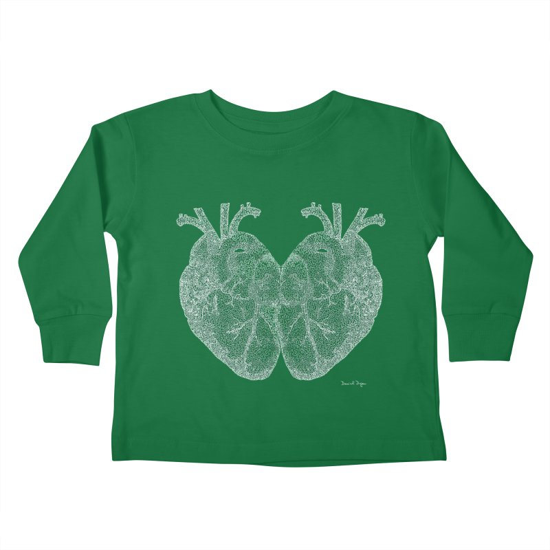 Heart to Heart WHITE - One Continuous Line Kids Toddler Longsleeve T-Shirt by Daniel Dugan's Artist Shop