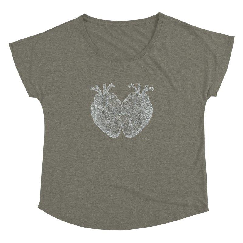 Heart to Heart WHITE - One Continuous Line Women's Dolman by Daniel Dugan's Artist Shop